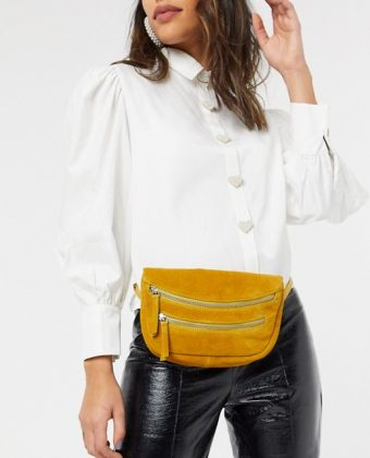 Suede double zip bum bag