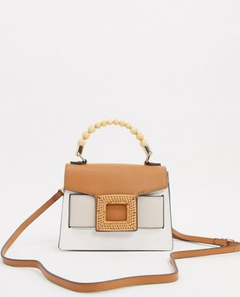 Rusca bead handle bag in tan multi