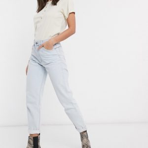 Mom Jeans Bleached Blue Wash