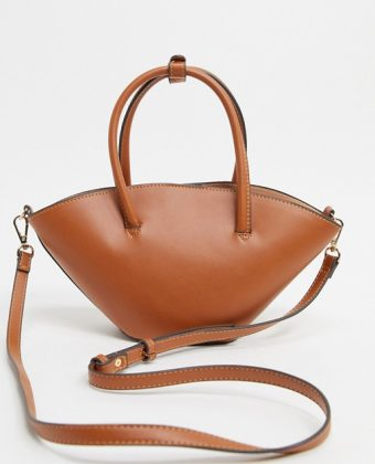 Top handle cross body bag in tan